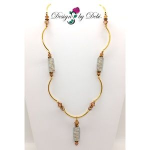 White & Copper Glass & Crystal Gold Necklace